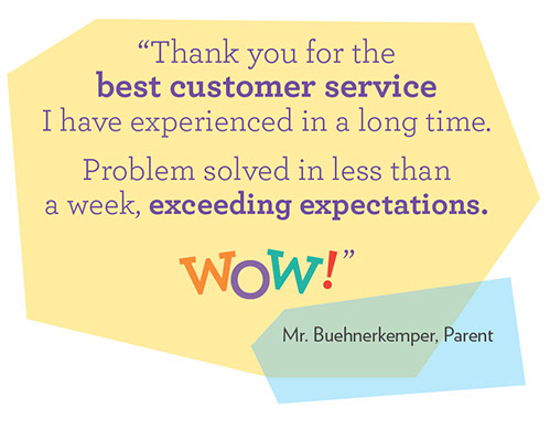 Thank you for the best customer service I have experienced in a long time. Problem solved in less than a week, exceeding expectations. WOW!